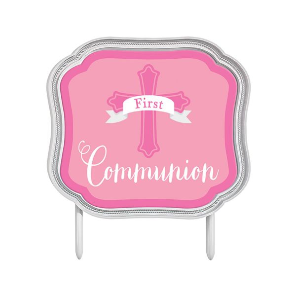 First Communion Pink Cake Topper